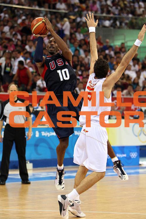 DESCRIZIONE : Beijing Pechino Olympic Games Olimpiadi 2008 Final Gold Medal 1-2 posto place Spain Usa <br /> GIOCATORE : Kobe Bryant <br /> SQUADRA : Usa <br /> EVENTO : Olympic Games Olimpiadi 2008 <br /> GARA : Spagna Usa <br /> DATA : 24/08/2008 <br /> CATEGORIA : Tiro <br /> SPORT : Pallacanestro <br /> AUTORE : Agenzia Ciamillo-Castoria/E.Castoria <br /> Galleria : Beijing Pechino Olympic Games Olimpiadi 2008 <br /> Fotonotizia : Beijing Pechino Olympic Games Olimpiadi 2008 Final Gold Medal 1-2 posto place Spain Usa <br /> Predefinita :