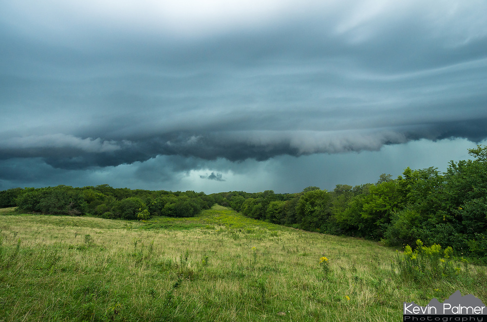 A shelf cloud approaches a grassy field near Mackinaw, Illinois. This storm hit a half an hour before sunset. It actually became so dark that fireflies started to come out.<br /> <br /> Date Taken: 8/28/2014