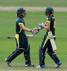 Australia's Ellyse Perry congratulates Australia's Alex Blackwell after reaching her half century. - Photo mandatory by-line: Harry Trump/JMP - Mobile: 07966 386802 - 21/07/15 - SPORT - CRICKET - Women's Ashes - Royal London ODI - England Women v Australia Women - The County Ground, Taunton, England.