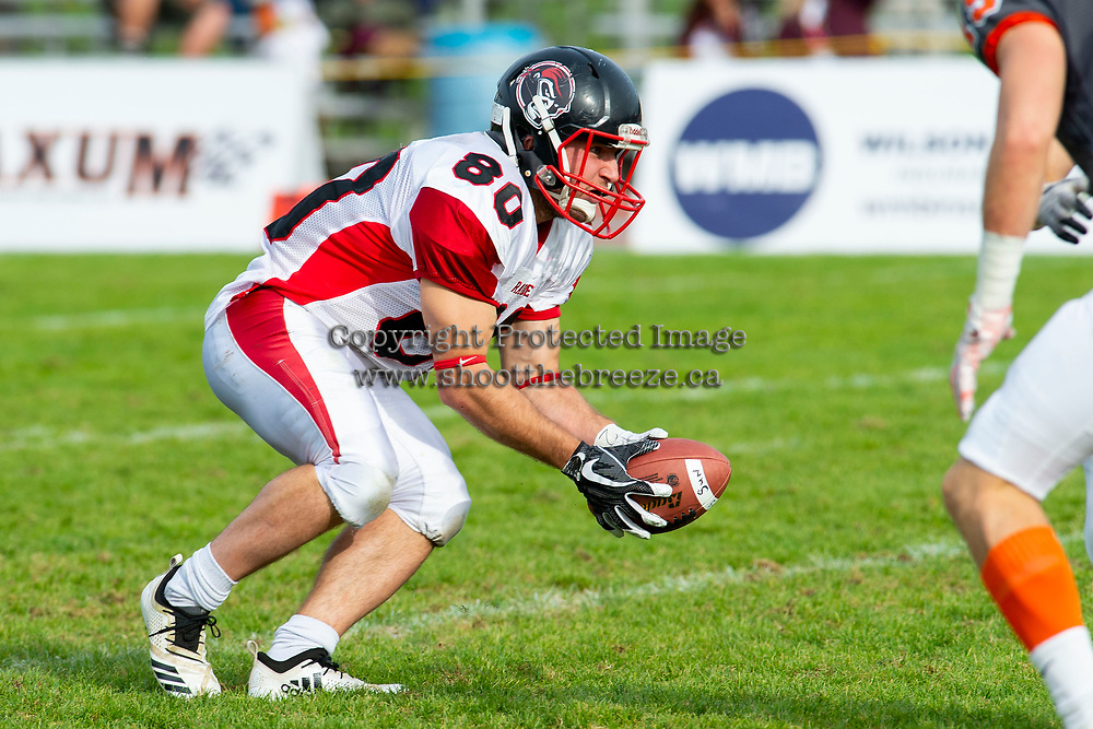 KELOWNA, BC - OCTOBER 6: Jared Braun #80 of the VI Raiders catches the ball against the Okanagan Sun at the Apple Bowl on October 6, 2019 in Kelowna, Canada. (Photo by Marissa Baecker/Shoot the Breeze)