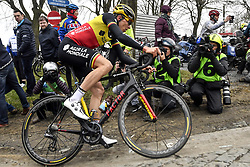 March 23, 2018 - Harelbeke, BELGIUM - Belgian Oliver Naesen of AG2R La Mondiale pictured in action during the 61st edition of the 'E3 Prijs Vlaanderen Harelbeke' cycling race, 206,5 km from and to Harelbeke, Friday 23 March 2018. BELGA PHOTO DIRK WAEM (Credit Image: © Dirk Waem/Belga via ZUMA Press)