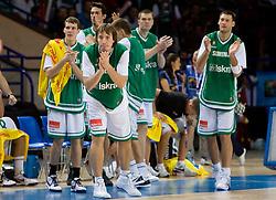 Goran Dragic, Matjaz Smodis, Uros Slokar and Goran Jagodnik during the basketball match at 1st Round of Eurobasket 2009 in Group C between Slovenia and Serbia, on September 08, 2009 in Arena Torwar, Warsaw, Poland. Slovenia won 84:76. (Photo by Vid Ponikvar / Sportida)