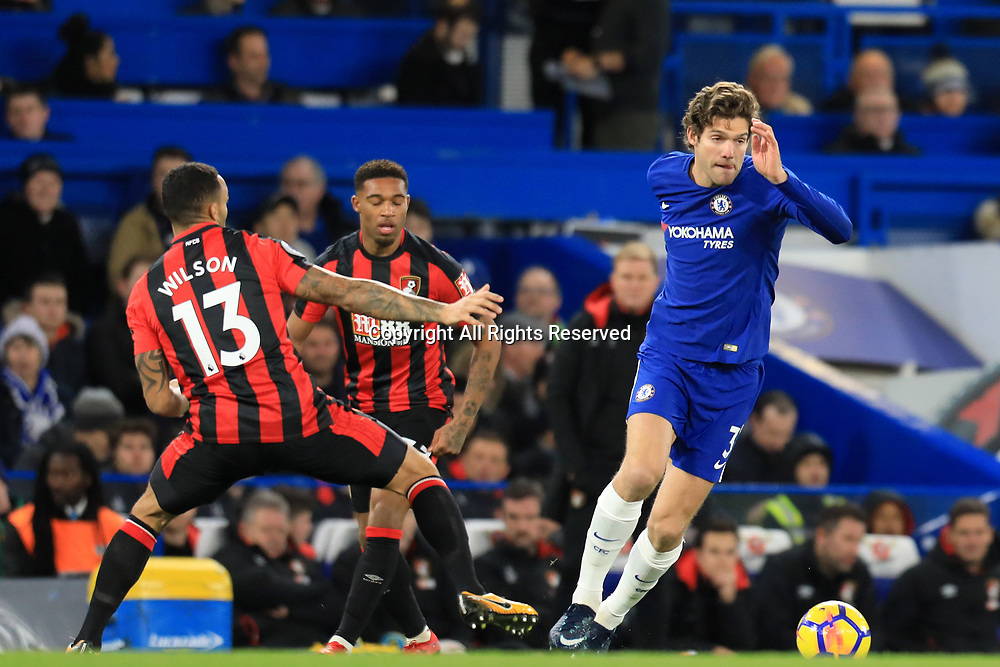 31st January 2018, Stamford Bridge, London, England; EPL Premier League football, Chelsea versus Bournemouth; Marcos Alonso of Chelsea takes on Callum Wilson of Bournemouth