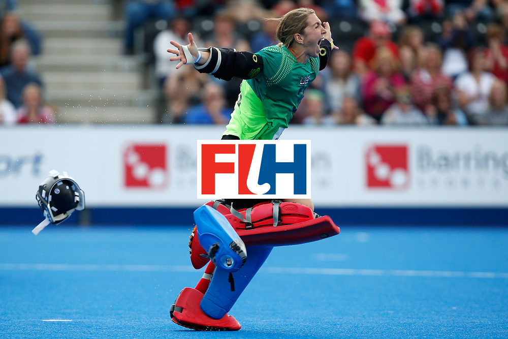 LONDON, ENGLAND - JUNE 26:  Jacky Briggs of the USA celebrates winning the bronze medal in a penalty shoot-out during the FIH Women's Hockey Champions Trophy 2016 match between Australia and the United States at Queen Elizabeth Olympic Park on June 26, 2016 in London, England.  (Photo by Joel Ford/Getty Images)
