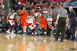 Miami guard Deandre Burnett. <br /> <br /> The University of Louisville hosted the University of Miami, Saturday, Feb. 21, 2015 at The Yum Center in Louisville. Louisville won 55-53.<br /> <br /> Photo by Jonathan Palmer