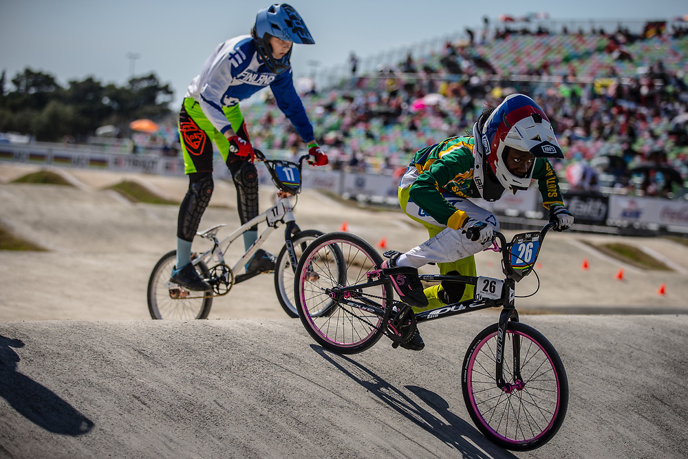 13 Girls #26 (MASETI Miyanda) RSA at the 2018 UCI BMX World Championships in Baku, Azerbaijan.