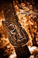 Zimsculpt at Van Dusen Botanical Garden: Leaf Head - opal stone sculpture by Square Chikwanda (original sculpture available at www.zimsculpt.com)