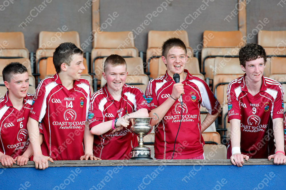 27/05/12<br /> Lissycasey players, Levi Howard, Michael O'Malley, Shane Keating, Oisin Hanrahan and Brian Cahill celebrate with the trophy following victory over Eire Og in the U16 Division 1 A Final at Cusack Park, Ennis on Sunday.<br /> Picture: Don Moloney / Press 22