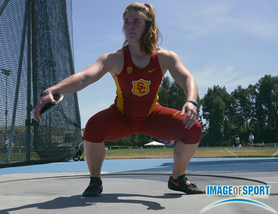 May 4, 2014; Los Angeles, CA, USA; Alex Collatz of Southern California wins the womens discus at 179-0 (54.57m) in a dual meet against UCLA at Drake Stadium.