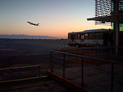 Airplane Liftoff from Monterrey, Mexico Airport, Dawn.