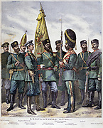Ranks of the Russian Infantry from  Frontier Guard, left, through Commander of the regiment, centre, to Private. right.  From 'Le Petty Journal', 12 March 1892. Arm, Military