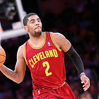 14 January 2014: Cleveland Cavaliers point guard Kyrie Irving (2) passes the ball during the Cleveland Cavaliers 120-118 victory over the Los Angeles Lakers at the Staples Center, Los Angeles, California, USA.