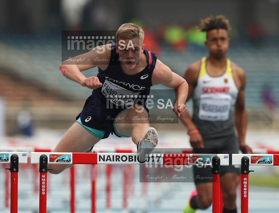 NAIROBI, KENYA - 13 July 2017, Steven Fauvel Clinch of France in the 110m hurdles of the mens decathlon during the morning session on Day 2 of the IAAF World U18 Championship held at the Kasarani Stadium in Nairobi, Kenya.<br /> Photo by Roger Sedres/ImageSA