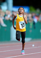 20 Aug 2016: Mirabel Emenike, Clare, in the Girls U10 100m heats.   2016 Community Games National Festival.  Athlone Institute of Technology, Athlone, Co. Westmeath. Picture: Caroline Quinn