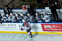 KELOWNA, CANADA - FEBRUARY 24:  Carsen Twarynski #18 of the Kelowna Rockets celebrates a third period goal against the Kamloops Blazers on February 24, 2018 at Prospera Place in Kelowna, British Columbia, Canada.  (Photo by Marissa Baecker/Shoot the Breeze)  *** Local Caption ***