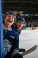 KELOWNA, CANADA - JANUARY 5: Matthew Wedman #21 and Zack Andrusiak #20 of the Seattle Thunderbirds stand at the bench and trash talk the Kelowna Rockets' bench on January 5, 2017 at Prospera Place in Kelowna, British Columbia, Canada.  (Photo by Marissa Baecker/Shoot the Breeze)  *** Local Caption ***