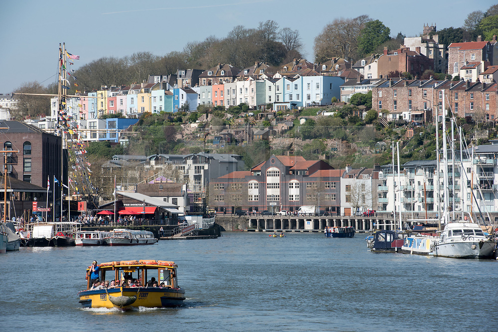 © Licensed to London News Pictures. 09/04/2017. Bristol, UK. Ferry boats cruise in the sun in Bristol's Floating Harbour on the hottest day of 2017 sofar. Photo credit : Simon Chapman/LNP