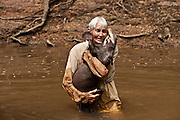 Diane McTurk & Giant Otter (Pteronura brasiliensis) HABITUATED. Karanambu Otter Trust for re-introduction<br />