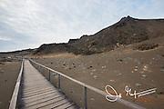Wooden path on Bartolome island, part of the Galapagos islands of Ecuador.
