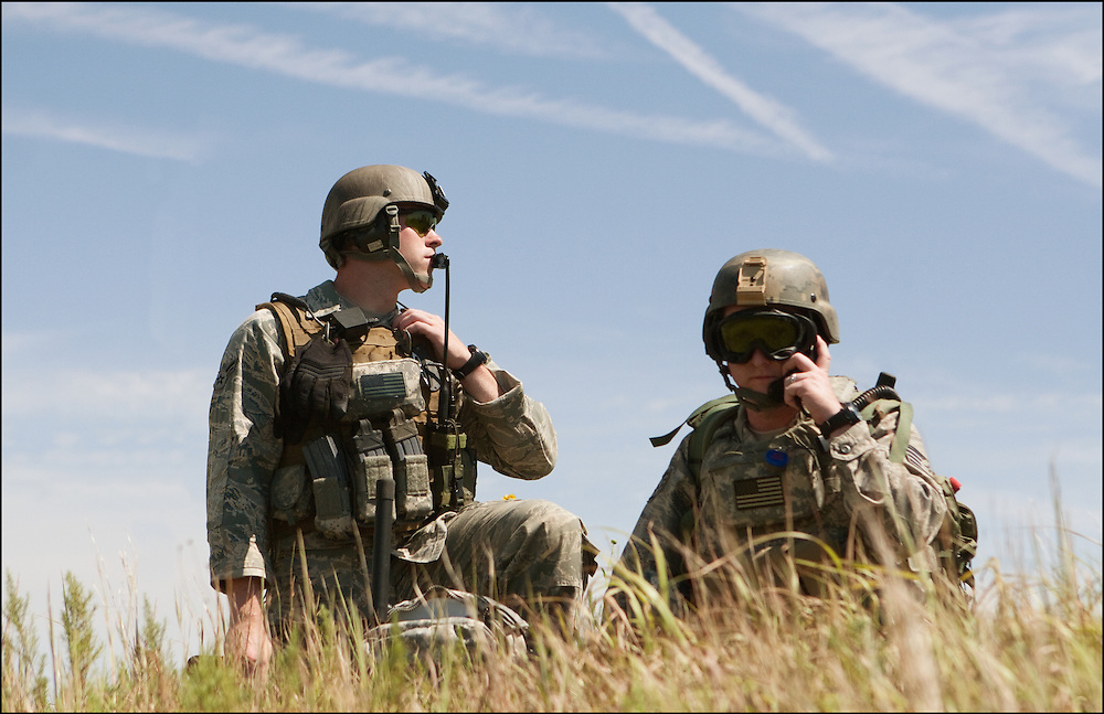 Troops looking out for potential enemies during their training at the Smokey Hill Air National Guard Range.