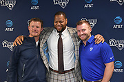 Apr 6, 2018; Thousand Oaks, CA, USA; Los Angeles Rams general manager Les Snead (left), defensive tackle Ndamukong Suh (center) and coach Sean McVay pose at a press conference at Cal Lutheran.