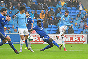 Goal - Riyad Mahrez (26) of Manchester City scores a goal to give a 0-5 lead to the away team during the Premier League match between Cardiff City and Manchester City at the Cardiff City Stadium, Cardiff, Wales on 22 September 2018.