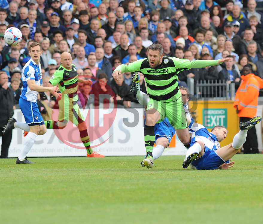 Forest Green Rovers's Jonathan Parkin loses the ball from a tackle by Bristol Rovers' Lee Mansell - Photo mandatory by-line: Nizaam Jones /JMP - Mobile: 07966 386802 - 03/05/2015 - SPORT - Football - Bristol - Memorial Stadium - Bristol Rovers v Forest Green Rovers - Vanarama Football Conference.