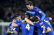Leicester City players celebrate a goal from Daniel Drinkwater of Leicester City (centre)  during the Premier League match at the King Power Stadium, Leicester<br /> Picture by Andy Kearns/Focus Images Ltd 0781 864 4264<br /> 27/02/2017