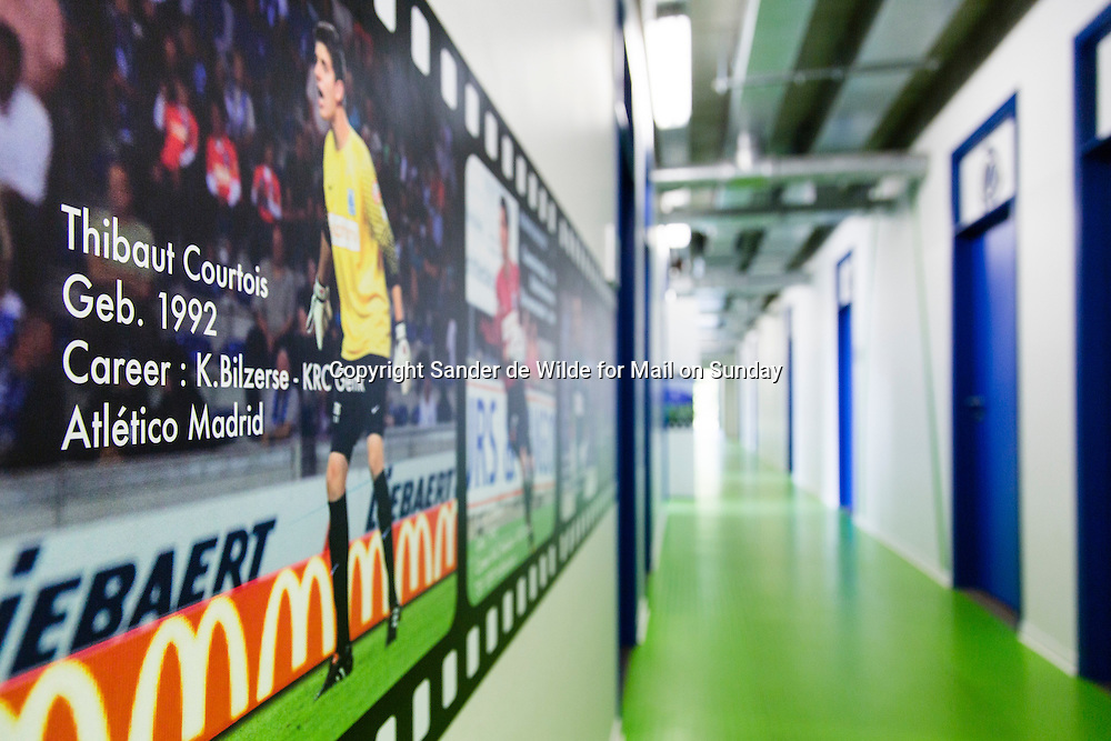 portrait  at KRC Genk youth training center of Thibaut Courtois who is a goalkeeper for Atletico Madrid, on loan from Chelsea. Dressing rooms youth.