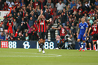 Football - 2018 / 2019 Premier League - AFC Bournemouth vs. Cardiff City<br /> <br /> After receiving stick from the Cardiff fans when having treatment for a head injury Bournemouth's Steve Cook turns and gesticulates towards them after Bournemouth's Callum Wilson scored the cherries second at the Vitality Stadium (Dean Court) Bournemouth <br /> <br /> COLORSPORT/SHAUN BOGGUST