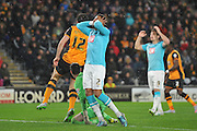 Derby County's Cyrus Christie missis kick at goalduring the Sky Bet Championship match between Hull City and Derby County at the KC Stadium, Kingston upon Hull, England on 27 November 2015. Photo by Ian Lyall.
