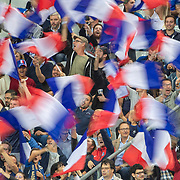 PARIS, FRANCE - September 10:  Fans waving French flags during team warm up before the France V Andorra, UEFA European Championship 2020 Qualifying match at Stade de France on September 10th 2019 in Paris, France (Photo by Tim Clayton/Corbis via Getty Images)