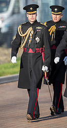 Prince William today presented service medals to Irish Guards, recently returned from Afghanistan .Mons Barracks, Aldershot, United Kingdom. Friday, 6th December 2013. Picture by i-Images