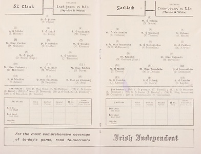 All Ireland Senior Football Championship Final, Dublin v Galway, 22.09.1963, 09.23.1963, 22nd September 1963, Dublin 1-9 Galway 0-10, Minor Kerry v Westmeath, .Dublin,  P Flynn, L Hickey, L Foley, W Casey, D McKane, P Holden, M Kissane, D Foley (capt), John Timmons, B McDonald, Mickie Whelan, G Davey, S Behan, D Ferguson, N Fox, Sub, P Downey for P Holden, .Galway, M Moore, E Colleran, N Tierney, S Meade, J B McDermott, J Donnellan, M Newell, M Garrett (capt), M Reynolds, C Dunne, Matly McDonagh, P Donnellan, J Keenan, S Cleary, S Leydon, Sub B Geraghty for S Cleary,