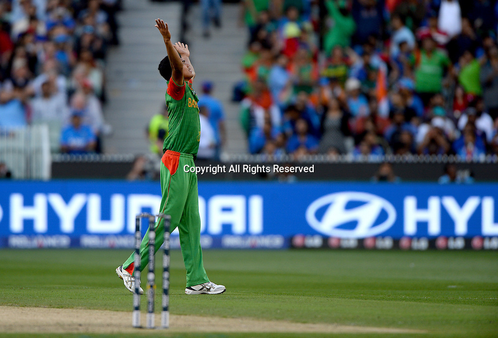 Taskin Ahmed (Bang) celebrates the wicket of MS Dhoni (Ind)<br /> India vs Bangladesh / Qtr Final 2<br /> 2015 ICC Cricket World Cup<br /> MCG / Melbourne Cricket Ground <br /> Melbourne Victoria Australia<br /> Thursday 19 March 2015<br /> &copy; Sport the library / Jeff Crow