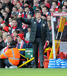 Bristol City manager, Steve Cotterill gives direction to his players from the side line in the FA Cup fourth round match between Bristol City and West Ham United at Ashton Gate on 25 January 2015 in Bristol, England - Photo mandatory by-line: Paul Knight/JMP - Mobile: 07966 386802 - 25/01/2015 - SPORT - Football - Bristol - Ashton Gate - Bristol City v West Ham United - FA Cup fourth round