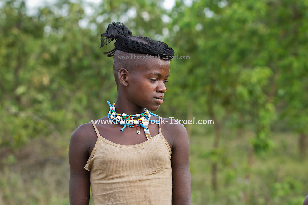 Portrait of a Young girl member of the Bena Tribe, Omo Valley, Ethiopia