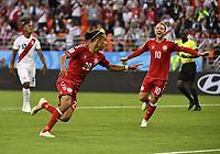 WM 2018, Peru - Dänemark (180616) -- SARANSK, June 16, 2018 -- Yussuf Yurary Poulsen (L front) of Denmark celebrates scoring during a group C match between Peru and Denmark at the 2018 FIFA World Cup WM Weltmeisterschaft Fussball in Saransk, Russia, June 16, 2018. ) (SP)RUSSIA-SARANSK-2018 WORLD CUP-GROUP C-PERU VS DENMARK HexCanling PUBLICATIONxNOTxINxCHN