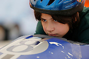 A competitors awaits the start of his race at a local soapbox derby race on Lakeshore Boulevard in Irondequoit on Saturday, May 31, 2014. Eighty-two competitors raced in six divisions, with the winner of each division advancing to the world championships in Akron, Ohio.