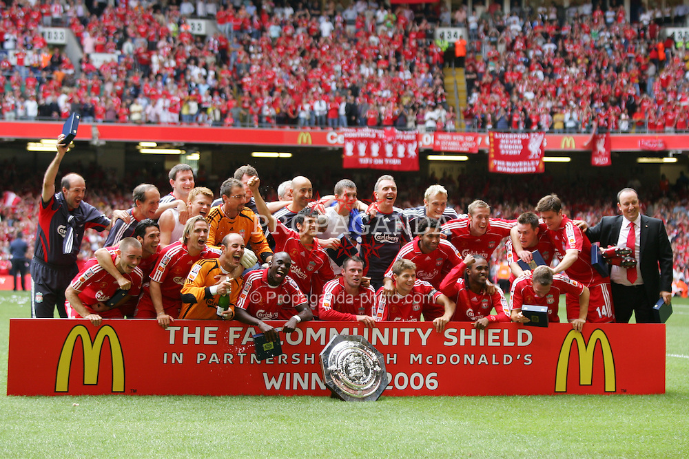 CARDIFF, WALES - SUNDAY, AUGUST 13th, 2006: Liverpool's players celebrate after beating Chelsea 2-1 in the Community Shield match at the Millennium Stadium. (Pic by David Rawcliffe/Propaganda)