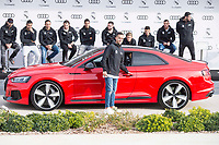 Lucas Vazquez of Real Madrid CF poses for a photograph after being presented with a new Audi car as part of an ongoing sponsorship deal with Real Madrid at their Ciudad Deportivo training grounds in Madrid, Spain. November 23, 2017. (ALTERPHOTOS/Borja B.Hojas)