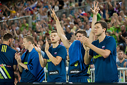 Players of Slovenia celebrate during basketball match between Slovenia and Spain in Round #5 of FIBA Basketball World Cup 2019 European Qualifiers, on June 28, 2018 in SRC Stozice, Ljubljana, Slovenia. Photo by Urban Urbanc / Sportida