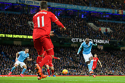 MANCHESTER, ENGLAND - Saturday, November 21, 2015: Manchester City's Eliaquim Mangala scores an own goal during the Premier League match against Liverpool at the City of Manchester Stadium. (Pic by David Rawcliffe/Propaganda)