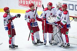 Players of CSKA Moscow celebrate victory during KHL League ice hockey match between KHL Medvescak Zagreb and CSKA Moscow, on September 18, 2014 in Dvorana Sportova, Zagreb, Croatia. (Photo By Matic Klansek Velej / Sportida)