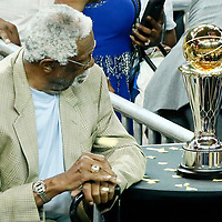 12 June 2017: Bill Russell is seen next to the Larry O'Brien NBA Championship Trophy during the Golden State Warriors 129-120 victory over the Cleveland Cavaliers, in game 5 of the 2017 NBA Finals, at the Oracle Arena, Oakland, California, USA.