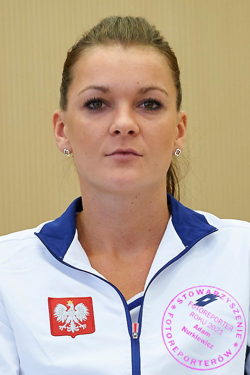 Agnieszka Radwanska from Poland during official draw one day before the Fed Cup / World Group 1st round tennis match between Poland and Russia at Holiday Inn on February 6, 2015 in Cracow, Poland.<br /> <br /> Poland, Cracow, February 6, 2015<br /> <br /> Picture also available in RAW (NEF) or TIFF format on special request.<br /> <br /> For editorial use only. Any commercial or promotional use requires permission.<br /> <br /> Adam Nurkiewicz declares that he has no rights to the image of people at the photographs of his authorship.<br /> <br /> Mandatory credit:<br /> Photo by &copy; Adam Nurkiewicz / Mediasport