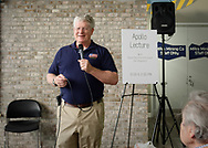 Garden City, New York, U.S. July 20, 2019. NASA Space Shuttle astronaut  BILL SHEPHERD speaks about his experiences in space, during lecture at the Moon Fest Apollo at 50 Countdown Celebration at Cradle of Aviation Museum in Long Island, during the time Apollo 11 Lunar Module, The Eagle, landed on the Moon 50 years ago.
