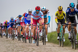 Peloton with Wout van Aert (BEL) of Team Jumbo-Visma (NED,WT,Bianchi) on cobblestone sector 20 during the 2019 Paris-Roubaix (1.UWT) with 257 km racing from Compiègne to Roubaix, France. 14th April 2019. Picture: Thomas van Bracht | Peloton Photos<br /> <br /> All photos usage must carry mandatory copyright credit (Peloton Photos | Thomas van Bracht)