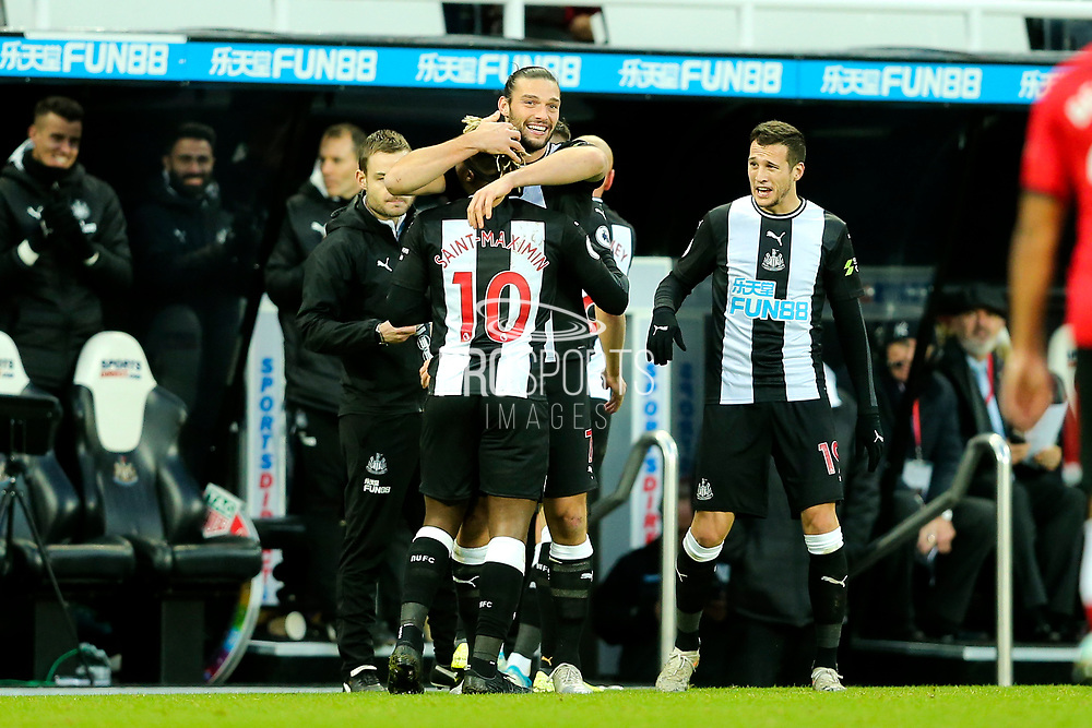 Andy Carroll (#7) of Newcastle United celebrates Newcastle United's first goal (1-1) scored by Jonjo Shelvey (#8) of Newcastle United during the Premier League match between Newcastle United and Southampton at St. James's Park, Newcastle, England on 8 December 2019.