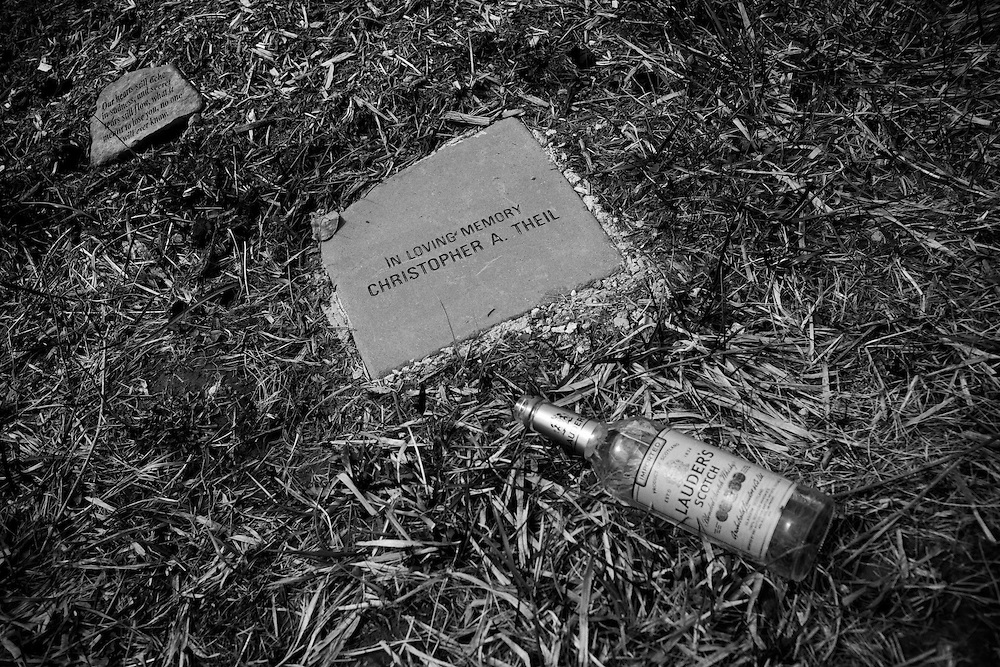Friends and family of Christopher Thiel gathered at a park in Dublin, Ohio on what would have been Chris' 23rd birthday, April 18, 2009 to celebrate his life. Chris and his girlfriend Kelly Armbruster died of a heroin overdose on May 3, 2008. An empty bottle of scotch was left at the memorial site after everyone took a drink for Chris.